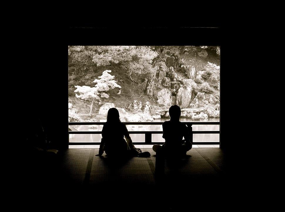 Jrballe Tenryuji Kyoto Japan two people relaxing