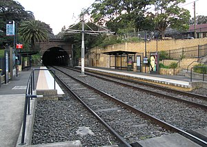 Sydney Freight Network - Jubilee Park light rail station, the portal for the tunnel under Glebe can be seen