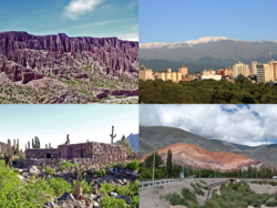 Clockwise from top: Quebrada de Humahuaca, San Salvador de Jujuy, Pucará de Tilcara, and the Hill of Seven Colors .