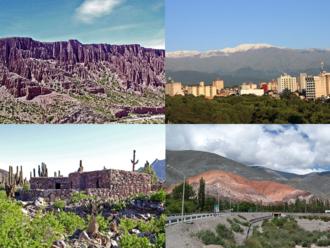 Jujuy Province - Clockwise from top: Quebrada de Humahuaca, San Salvador de Jujuy, Pucará de Tilcara, and the Hill of seven colors.