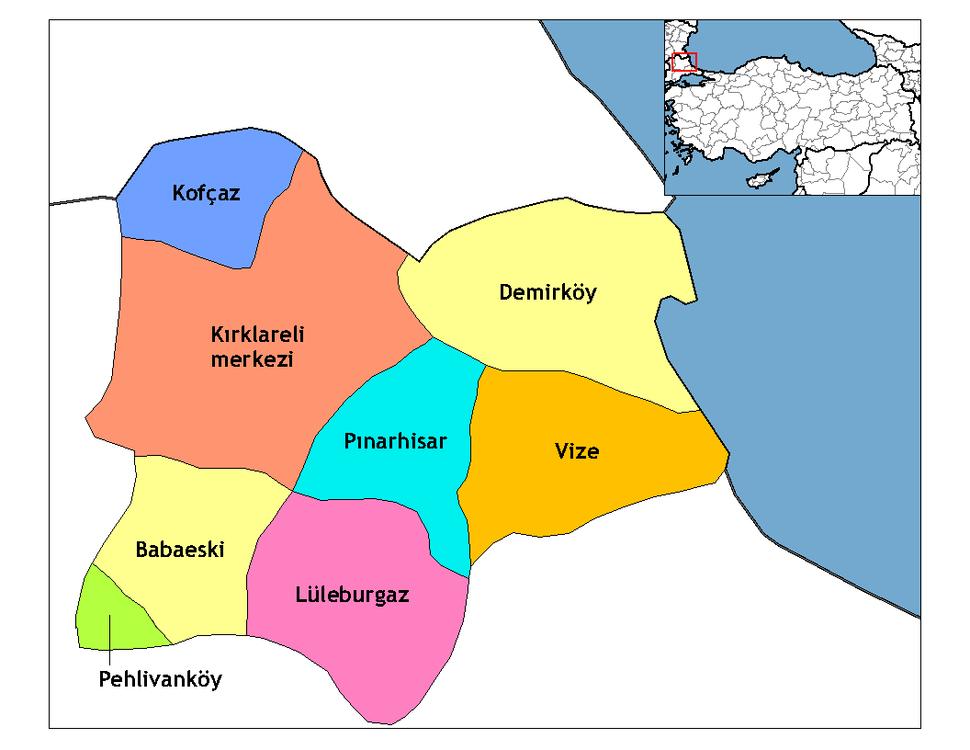 Kırklareli districts