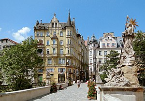 Kłodzko - Historical buildings above the medieval-gothic St. John's Bridge