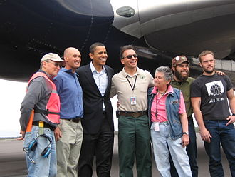 Roberts Field - Roberts Field manager Carrie Novick and USFS Redmond Air Center manager Dan Torrence, members of their staff, and Jamin and Jeshua Marshall (of Larry and His Flask) meet Sen. Barack Obama during the 2008 presidential primary campaign