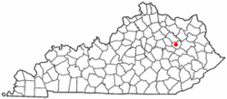 Location of Frenchburg, Kentucky