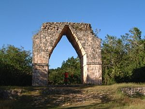 Sacbe - Arch at the end of the sacbé, Kabah, Yucatán