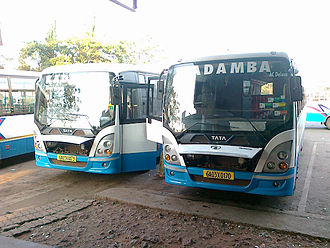 Government-run Kadamba buses at a bus station in Goa Kadamba Tata Marcopolo Starbus Ultra Ac Deluxe.jpg