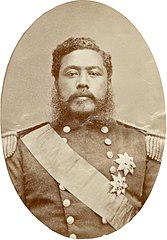 Kalakaua, photograph by Bradley & Rulofson, from Cover of Kalakaua March (colored variant).jpg