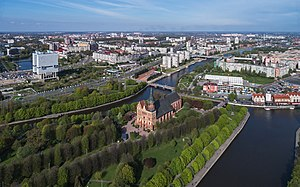 Kneiphof - Aerial view of today's Kaliningrad downtown with Kneiphof in the foreground