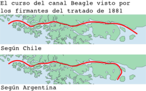 Beagle Channel Arbitration - Two views over the Beagle Channel as seen by the signatories of the Treaty of 1881. Above the Chilean view, below the Argentine view