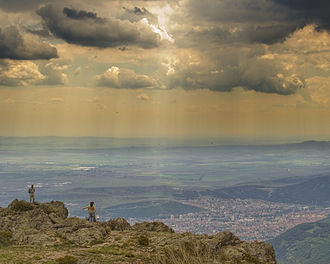 Sliven - View of Sliven and the lowlands of Thrace from southern Stara Planina