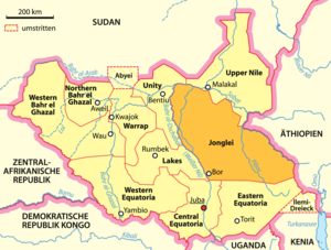 Jonglei - Map showing Jonglei before creation of new states in 2015
