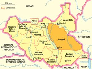 Deutsch: Karte des Bundesstaats Jonglei im Süd...