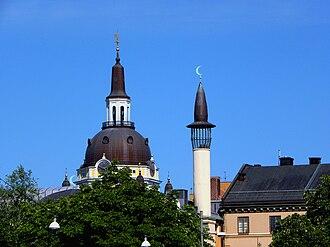 Immigration to Sweden - Katarina Church and the minaret of Stockholm Mosque near Medborgarplatsen in Stockholm.