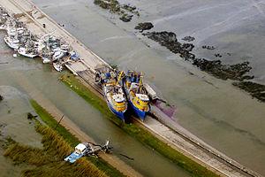Empire, Louisiana -  Fishing boats grounded near Empire, Louisiana after Hurricane Katrina.