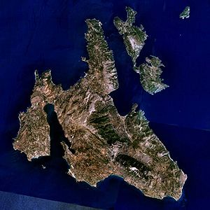 Ithaca - Ithaca is to the upper right of the larger Kefalonia island in this picture. The small island in the top-right corner is the uninhabited Atokos island (NASA World Wind satellite picture).