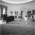 Kennedy children visit the Oval Office. President Kennedy, Caroline Kennedy, John F. Kennedy ,Jr. White House, Oval... - NARA - 194242.tif