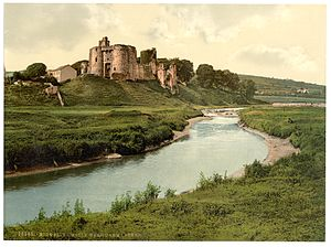Kidwelly Castle - The castle in the 1890s, with the ruins partly overgrown