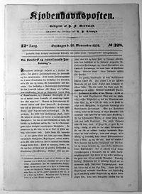 « Une du quotidien danois Kjøbenhavnsposten du 28 novembre 1838 »