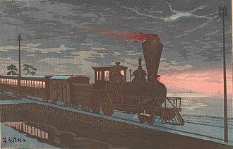 Kobayashi Kiyochika - Image: Kobayashi Kiyochika (1879) View of Takanawa Ushimachi under a Shrouded Moon