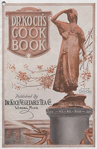 Winona (legend) - Photo of the statue in Central Park, Winona, MN, here seen on the cover of a promotional cookbook.