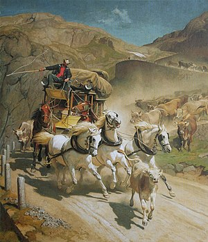 "Gotthard Base Tunnel - ""The Gotthard Post"" on the Tremola (1873 by Rudolf Koller)"