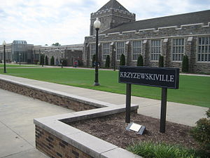 "Krzyzewskiville - The area outside of Cameron Indoor Stadium, called ""Krzyzewskiville"", where students camp out for men's basketball tickets."