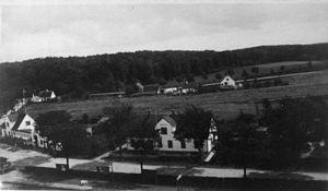 Kvistgård - The area east of Kvistgård station in 1928: Still open countryside
