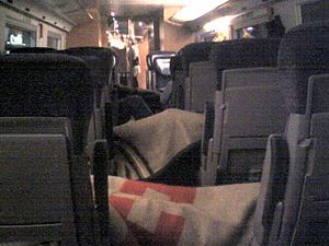 Cyclone Kyrill - Stranded travellers sleeping in an ICE train stopped at Würzburg station
