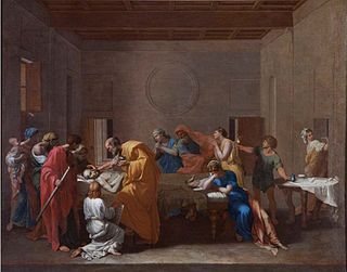 painting Nicolas Poussin in the Fitzwilliam Museum, Cambridge