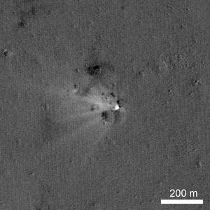 Sundman (crater) - Image: LADEE Impact Ratio LRO 20141028