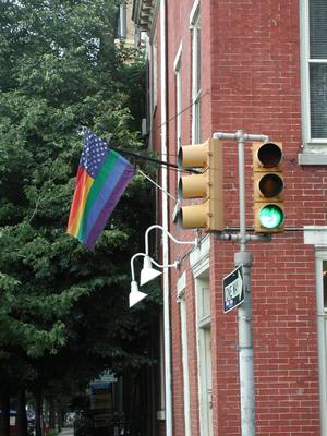 An LGBT American flag in Philadelphia, Pennsyl...