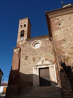 La Hoz de la Vieja - Iglesia de Nuestra Señora de las Nieves - Portada y torre.jpg