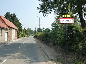 Laires (Pas-de-Calais) city limit sign.JPG