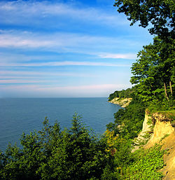 Lake Erie bluffs as seen from the David M. Roderick Wildlife Reserve