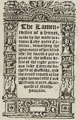 The Lamentation of a Sinner - Title page of The Lamentation of a Sinner