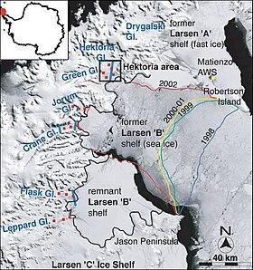 El colapso de Larsen B, mostrando la disminución de la barrera desde 1998 a 2002