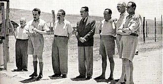 Moshe Sharett - Zionist leaders, arrested in Operation Agatha, in detention in Latrun (l-r): David Remez, Moshe Sharett, Yitzhak Gruenbaum, Dov Yosef, Mr. Shenkarsky, David Hacohen, and Isser Harel (1946)