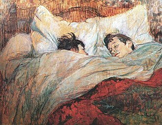 Blanket - The Bed by Henri de Toulouse-Lautrec depicts two people under a blanket
