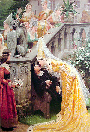 "Alain Chartier - ""Alain Chartier"" by Edmund Blair Leighton, depicting the kiss"