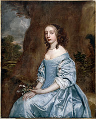 Portrait of a Lady in Blue holding a Flower
