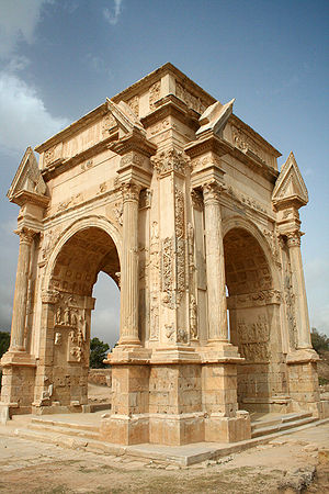 History of Libya - The Arch of Septimius Severus at Leptis Magna. The patronage of Roman emperor Septimus Severus allowed the city to become one of the most prominent in Roman Africa.