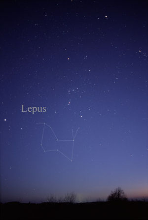 Lepus (constellation) - The constellation Lepus as it can be seen by the naked eye.