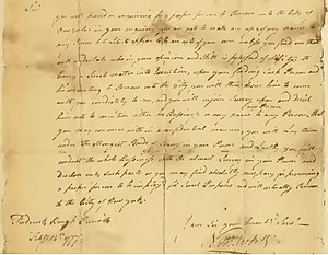 Henry Ludington - February 14, 1777 letter from Nathaniel Sackett to Ludington