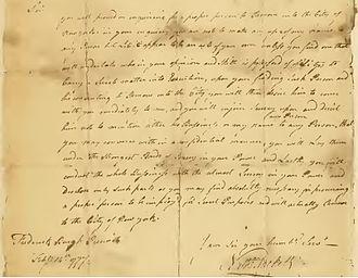 Henry Ludington - February 14, 1777 letter from Nathaniel Sackett to Ludington