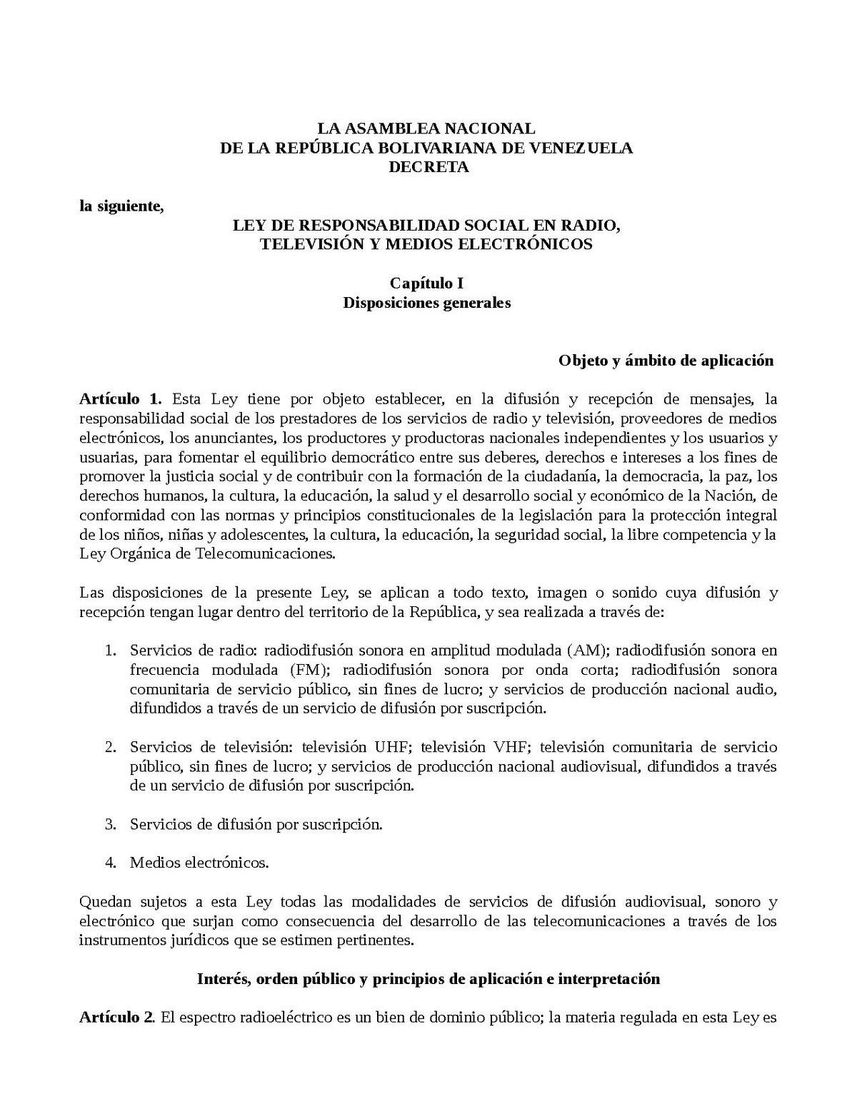 Ley de Responsabilidad Social en Radio y Televisión - Wikipedia, la ...