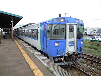 Oshamambe Station - A Hokuto limited express service at Oshamambe Station in July 2008