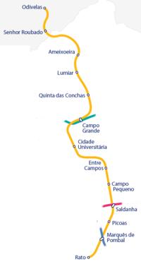 Route of the Linha Amarela