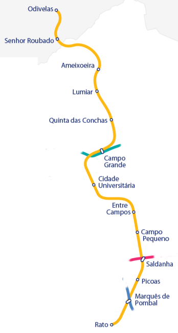 Subway Map Of Lisbon.Yellow Line Lisbon Metro Wikipedia