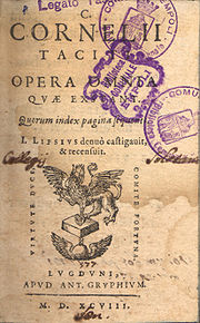 The front page of Justus Lipsius's 1598 edition of the complete works of Tacitus, bearing the stamps of the Bibliotheca Comunale in Empoli, Italy.