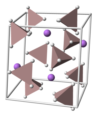 Lithium aluminium hydride - The crystal structure of LAH; Li atoms are purple and AlH4 tetrahedra are tan.